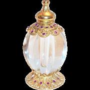 Gold Tone Filigree Design Perfume Bottle With Rhinestones