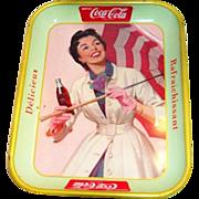 SALE Coca Cola 1957 French Umbrella Girl Metal Serving Tray