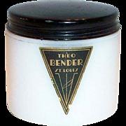 Theo Bender: White Glass Vanity Jar With Black Tin Lid