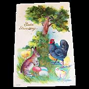 Easter Greetings: Rooster & Animal Friends Postcard