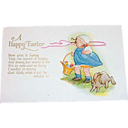 """A Happy Easter"" Cute Little Girl & Bunny Postcard"