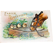 """Easter Greetings"" Glitter Horse's Head & Chicks Postcard"