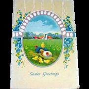 Easter Greetings, Scenic Farm Scene Postcard