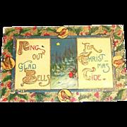 """Vintage """"Ring Out Glad Bells, For Christmas Tide"""" Postcard"""