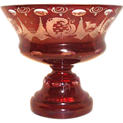 SALE Kristallglas Etched Ruby Glass & Clear Compote/Comport