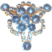 SALE Lovely Frosted Round Cabochons & Blue Rhinestones Pin