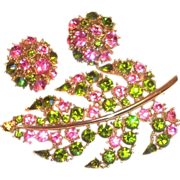 Lovely Lisner Pink & Green Glass Rhinestone Leaf Pin & Earrings Set
