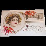 Vintage 1911 This Christmas Card/Wish You Well Postcard