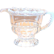 Vintage White Opalescent Filigree Trim & Handle Pitcher