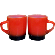 Anchor Hocking: Fire King: Red With Black Base Glass Mug