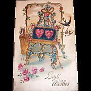 Vintage 1908 Best Wishes Valentine Postcard