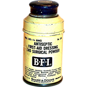 Vintage B.F.I. Antiseptic First-Aid Dressing & Surgical Powder Tin