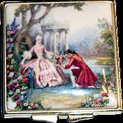 Vintage Colonial Couple Scene Enamel Top Double Mirror Compact