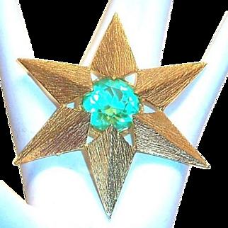 Van's Authentics Light Green Glass Rhinestone & Gold Tone Pin