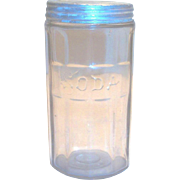 Vintage Hoosier Crystal Embossed Soda Jar With Original Tin Lid