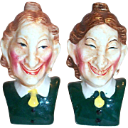 Vintage Two Old Maids Hand Painted Porcelain Salt & Pepper Shakers