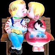 Vintage 3 Piece Hand Painted Porcelain Novelty Boy & Girl Sitting On Bench Salt & Pepper Set