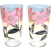 Retro Pink & Black Floral & Leaf Design Glass
