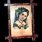 Vintage Wooden Framed Little Fruit Girl Print By Currier & Ives