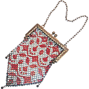 Vintage Red on White Enamel Smaller Mesh Purse