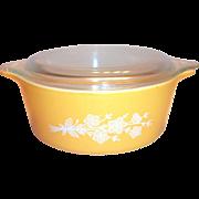 Vintage Pyrex Glass Lidded Butterfly Gold 1.5 Pt Casserole