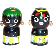 Vintage Black Americana: Handpainted Wooden Salt & Pepper Set