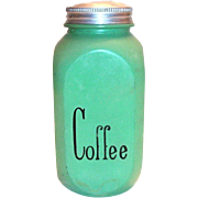 Hocking: Fired-On Green Coffee Canister with Tin Lid