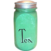Vintage Hocking: Fired-On Green Tea Canister with Tin Lid