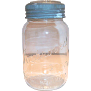Old Improved Gem Glass Quart Size Mason Jar With Zinc & Glass Lid