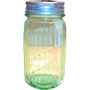 Vintage Anchor Hocking Transparent Green Glass 20 Oz. Canister with Tin Lid