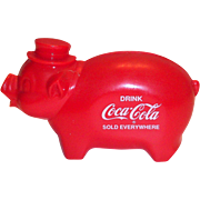 Vintage 1950's Coca Cola Red Plastic Pig Bank