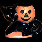 Vintage 1950's Rosbro Plastics Halloween Black Cat & Pumpkin Candy Holder