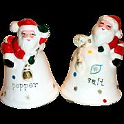 Vintage Napcoware Christmas Santa On Bells Hand Painted Porcelain Salt & Pepper Shakers