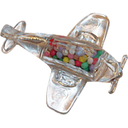 Vintage Victory Glass Co. U.S. P-51 Fighter Plane Unopened Candy Holder