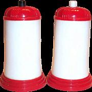 Vintage Retro Swanky Red & White Plastic Push Button Salt & Pepper Set