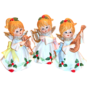 Vintage Homco 3 Piece Hand Painted Porcelain Musical Angel Figurines