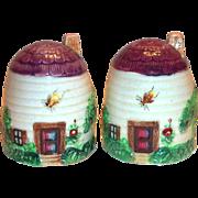 Vintage Beehive Cottage Design Porcelain Salt & Pepper Set