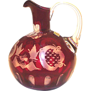 Vintage Egermann Bohemian Czechoslovakia Ruby & Frosted Etched Pitcher
