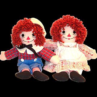 Vintage Knickerbocker Awake/Asleep Raggedy Ann & Andy Dolls