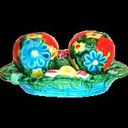 Hand Painted & Brightly Colored Porcelain Floral & Fruit Design 3 Pc Salt, Pepper & Tray Set