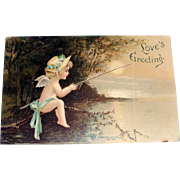 Vintage Love's Greeting Angel Fishing Valentine Postcard