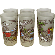 SALE Set of 6 Hazel Atlas Currier & Ives 12 Oz. Tumblers