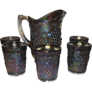 SALE Imperial Glass Vintage Grape Pitcher and 5 Tumblers