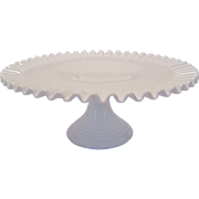 Fenton White Milk Glass Hobnail Footed Cake Plate