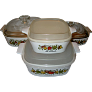 "SALE 4 Piece Set Corning Ware ""Spice of Life"" with Lids"