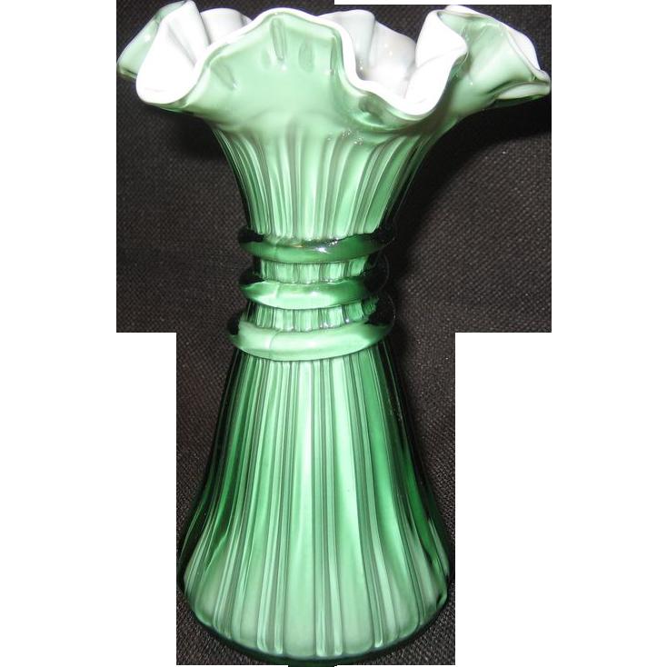 Fenton Heritage Green Wheat Vase