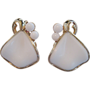 Crown Trifari White Milk Glass Earrings