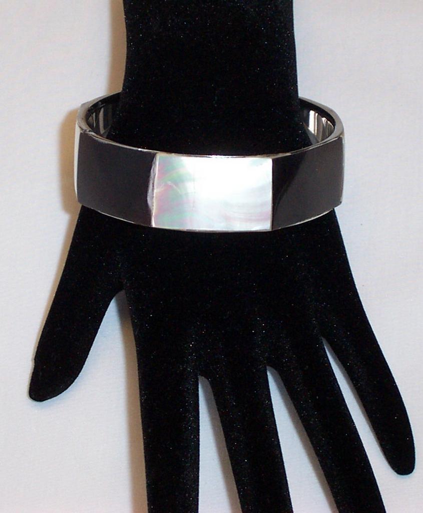 Black and Mother of Pearl Bangle Bracelet