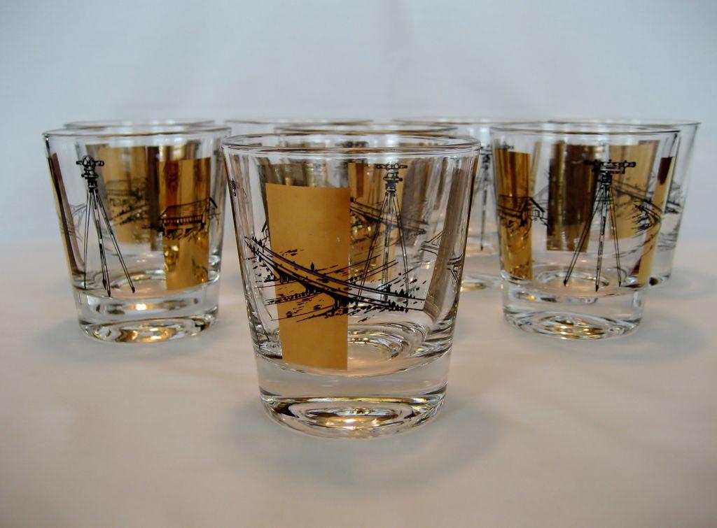 Set of 8 Bar Glasses - Engineering or Survey Theme