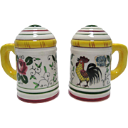 SALE Roosters & Roses/Early Provincial HP Salt & Pepper Shakers